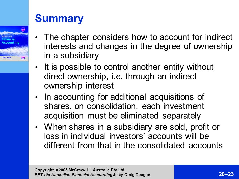 Summary The chapter considers how to account for indirect interests and changes in the degree of ownership in a subsidiary.