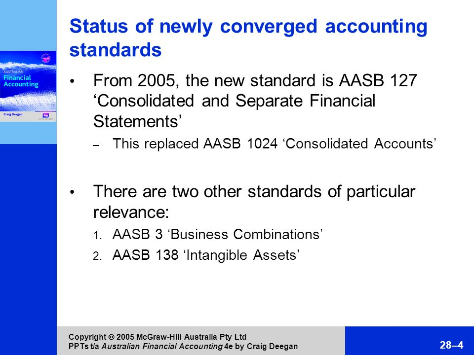 Status of newly converged accounting standards