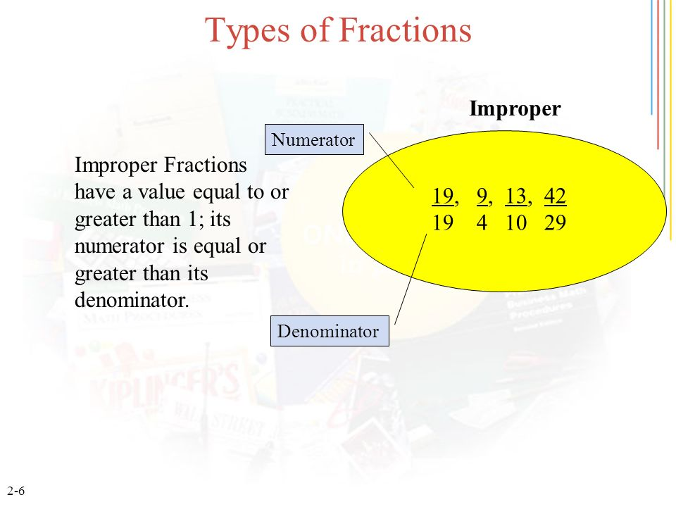 Types of Fractions Improper