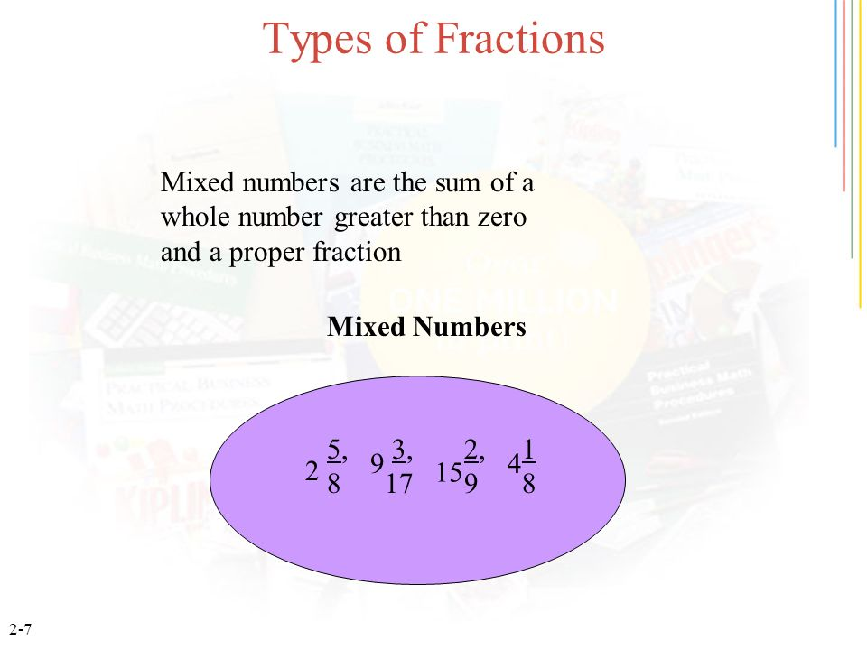 Types of Fractions Mixed numbers are the sum of a whole number greater than zero and a proper fraction.