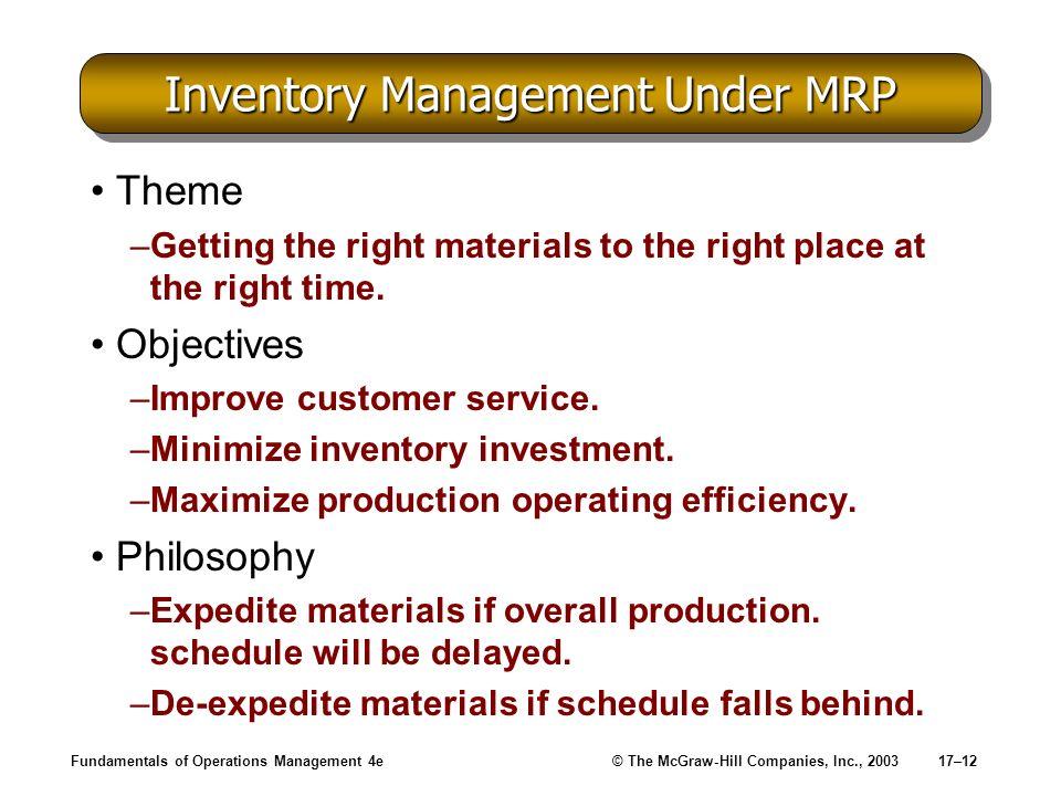 Inventory Management Under MRP