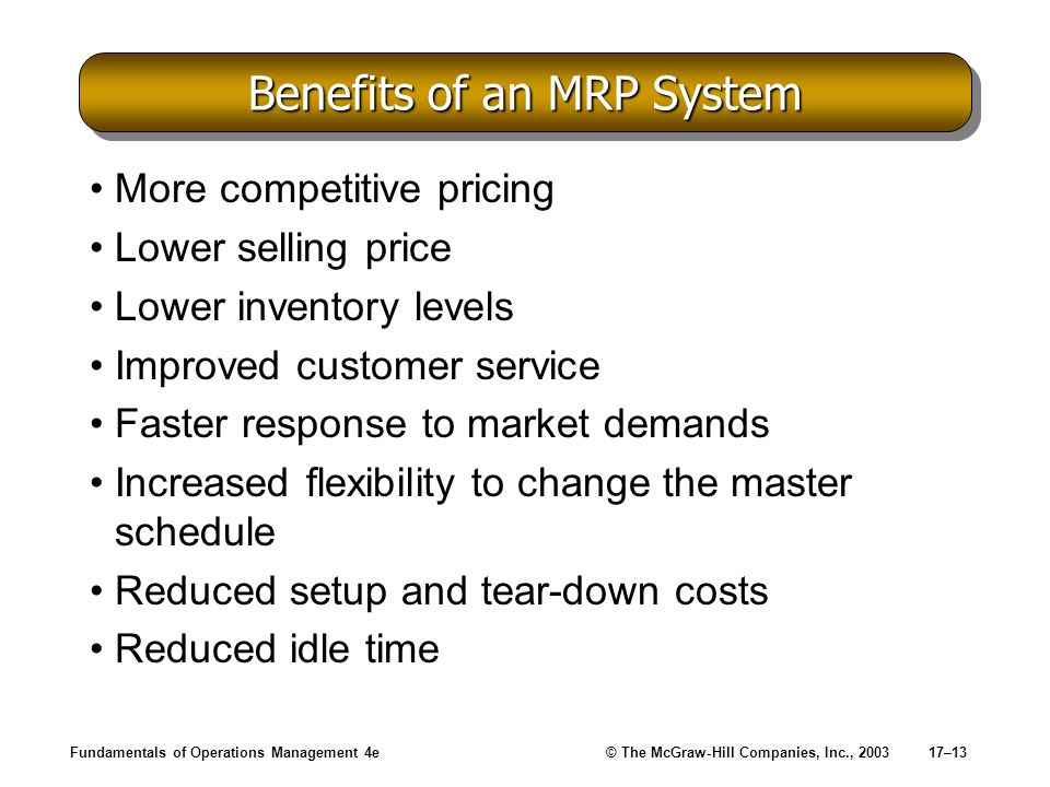 Benefits of an MRP System