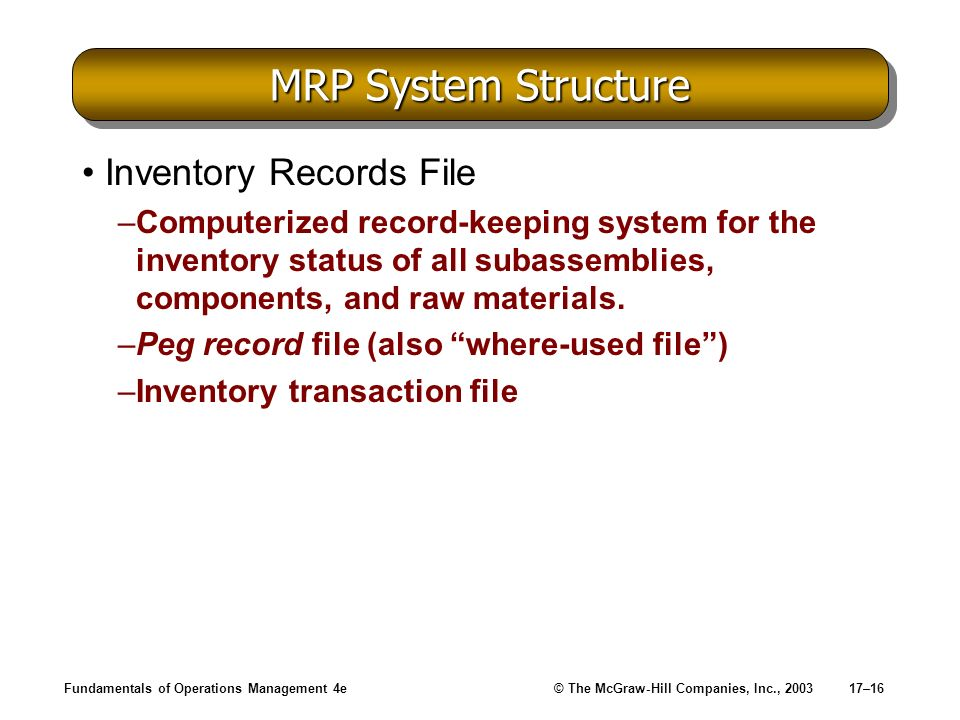 MRP System Structure Inventory Records File