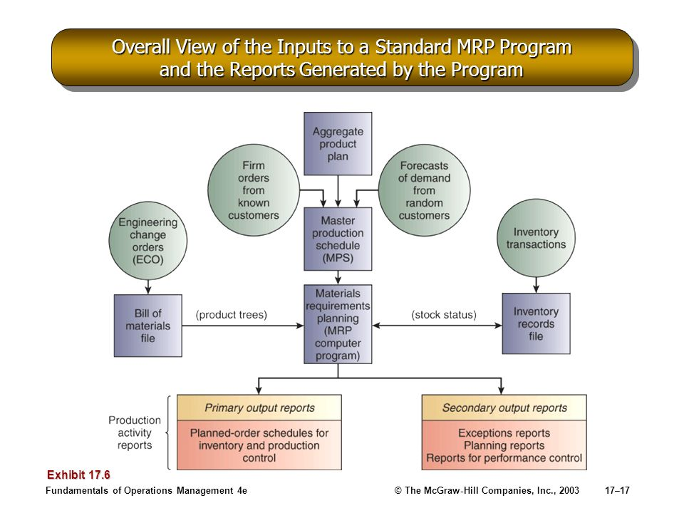 Overall View of the Inputs to a Standard MRP Program and the Reports Generated by the Program
