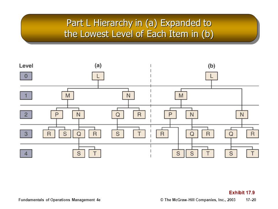 Part L Hierarchy in (a) Expanded to the Lowest Level of Each Item in (b)