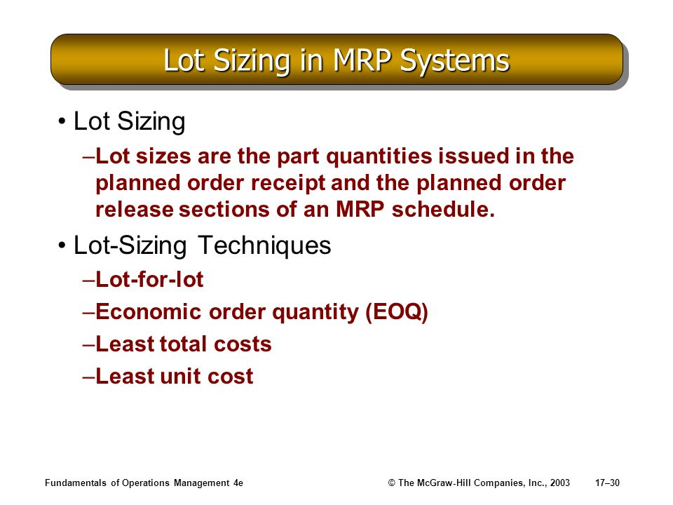 Lot Sizing in MRP Systems