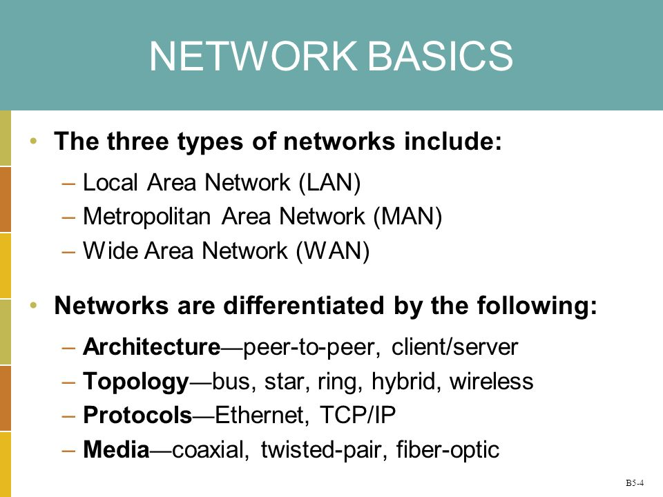 NETWORK BASICS The three types of networks include: