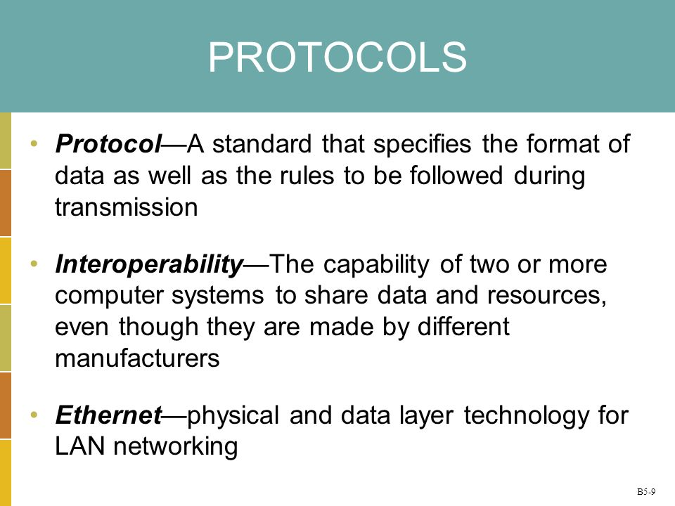 PROTOCOLS Protocol—A standard that specifies the format of data as well as the rules to be followed during transmission.