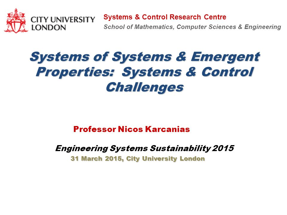 Systems Of Systems Emergent Properties Systems Control
