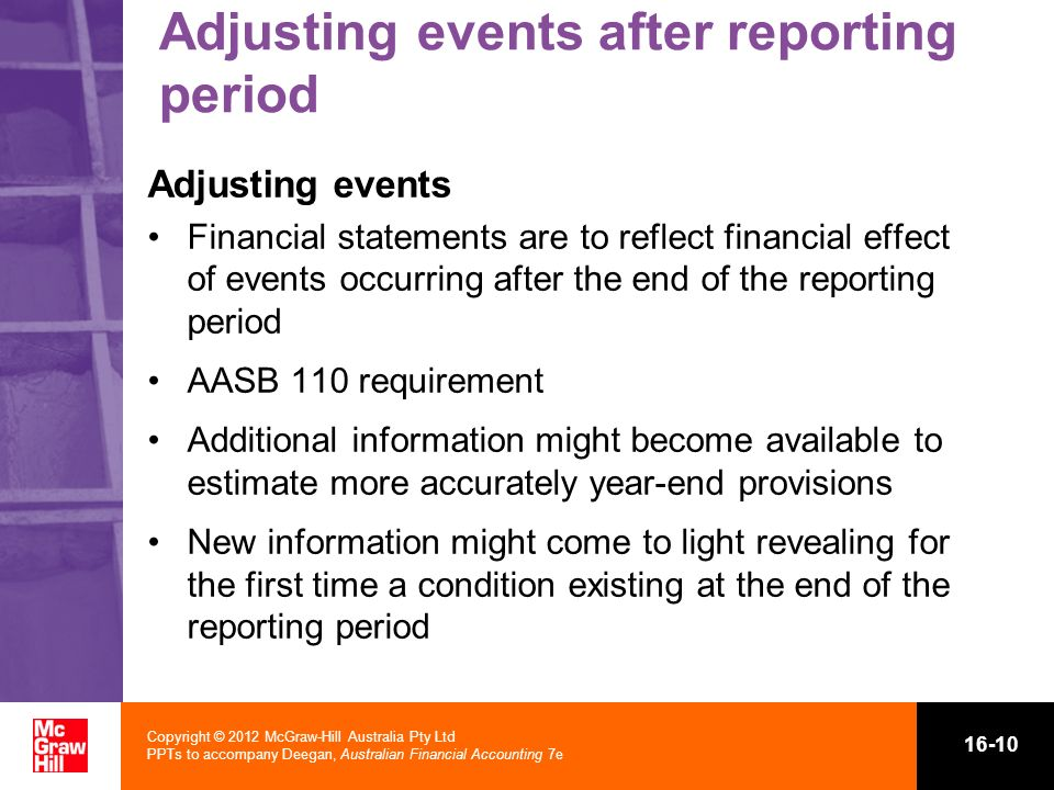 Adjusting events after reporting period