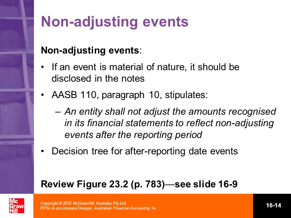 Non-adjusting events Non-adjusting events: