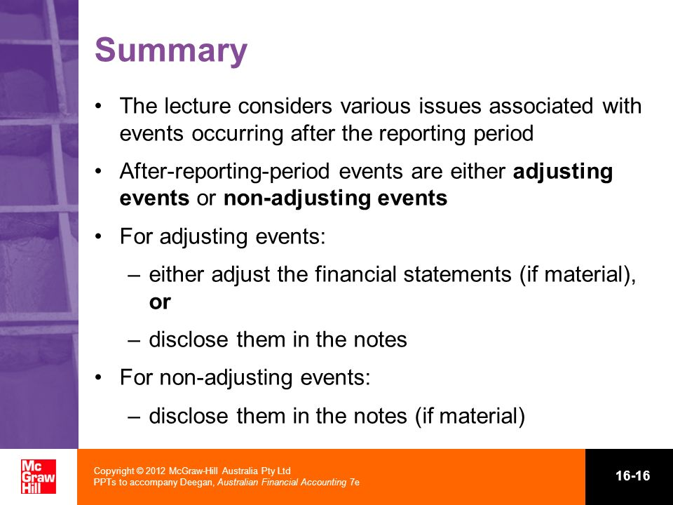Summary The lecture considers various issues associated with events occurring after the reporting period.