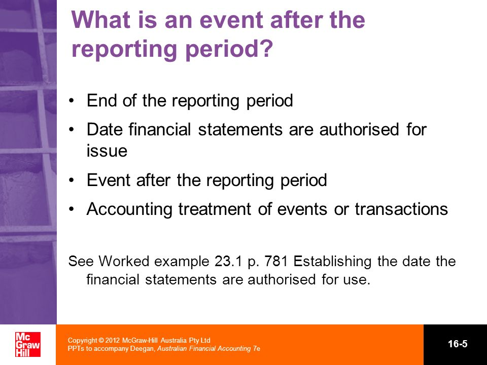 What is an event after the reporting period