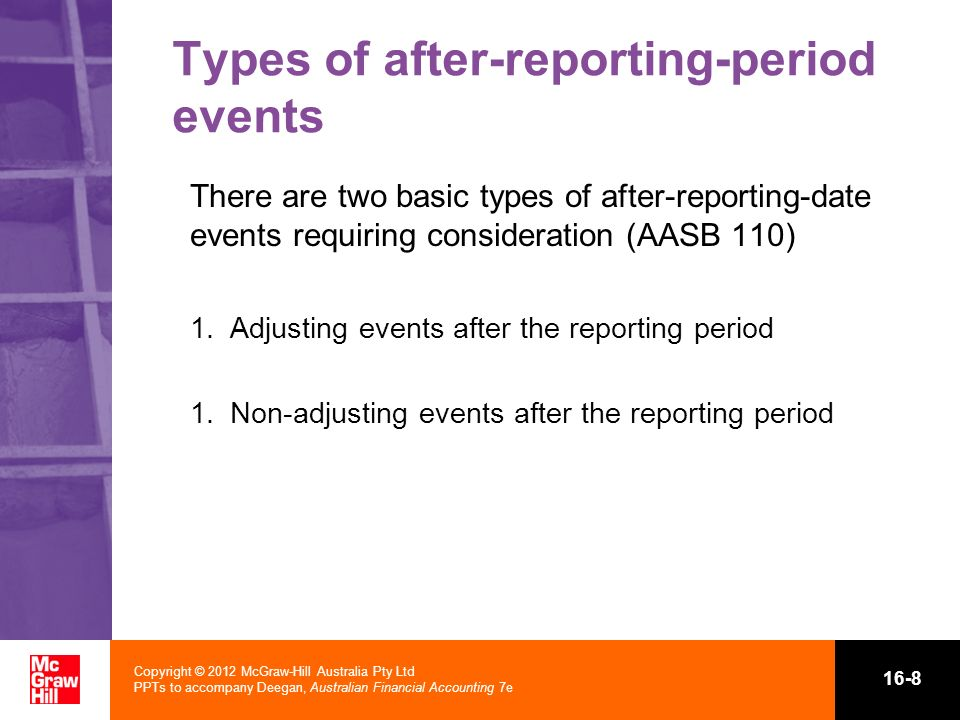 Types of after-reporting-period events