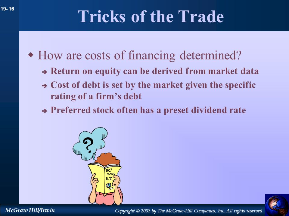 Tricks of the Trade How are costs of financing determined