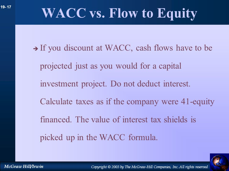 WACC vs. Flow to Equity