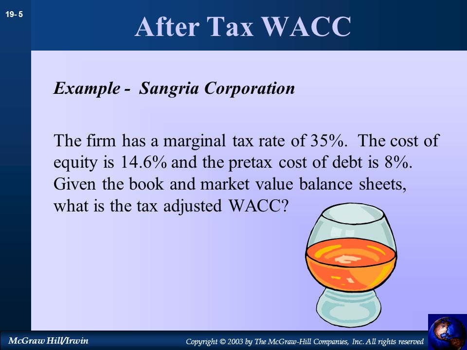 After Tax WACC Example - Sangria Corporation