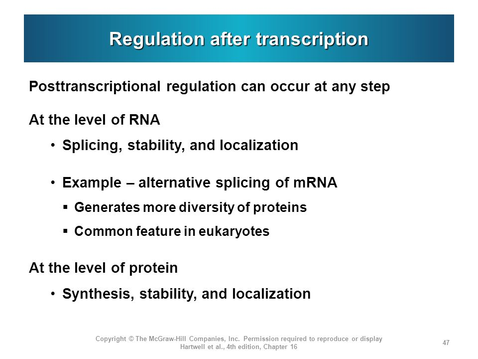 Regulation after transcription
