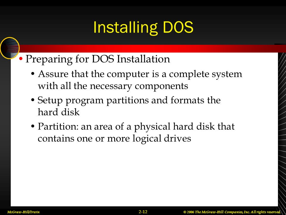 Installing DOS Preparing for DOS Installation