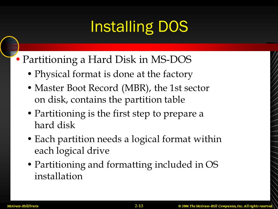 Installing DOS Partitioning a Hard Disk in MS-DOS