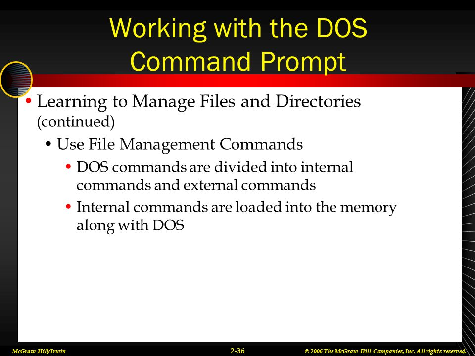 Working with the DOS Command Prompt