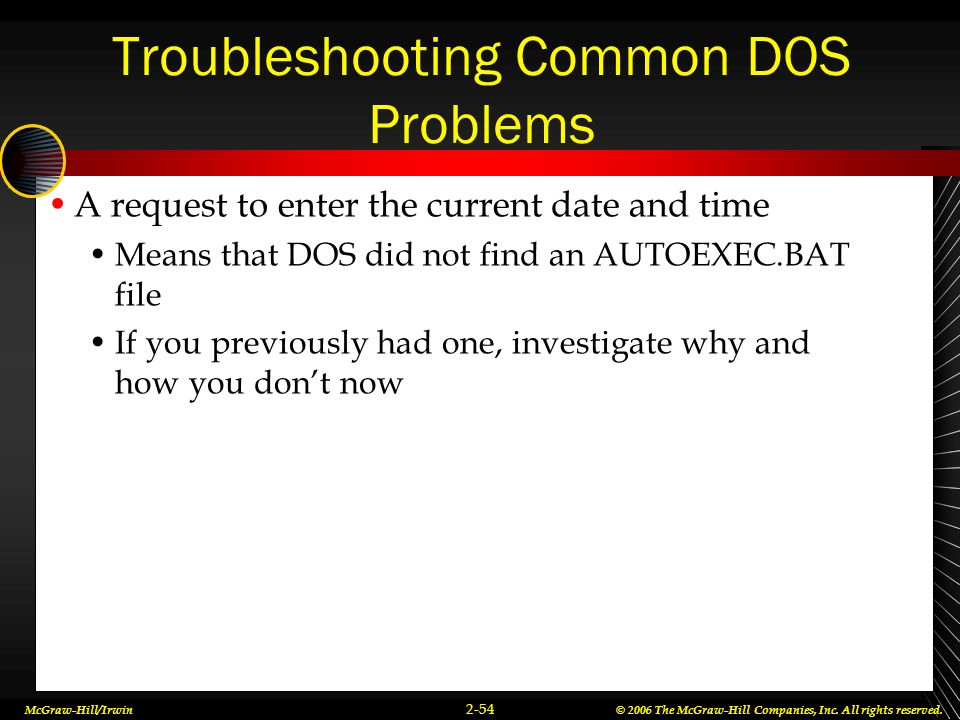 Troubleshooting Common DOS Problems