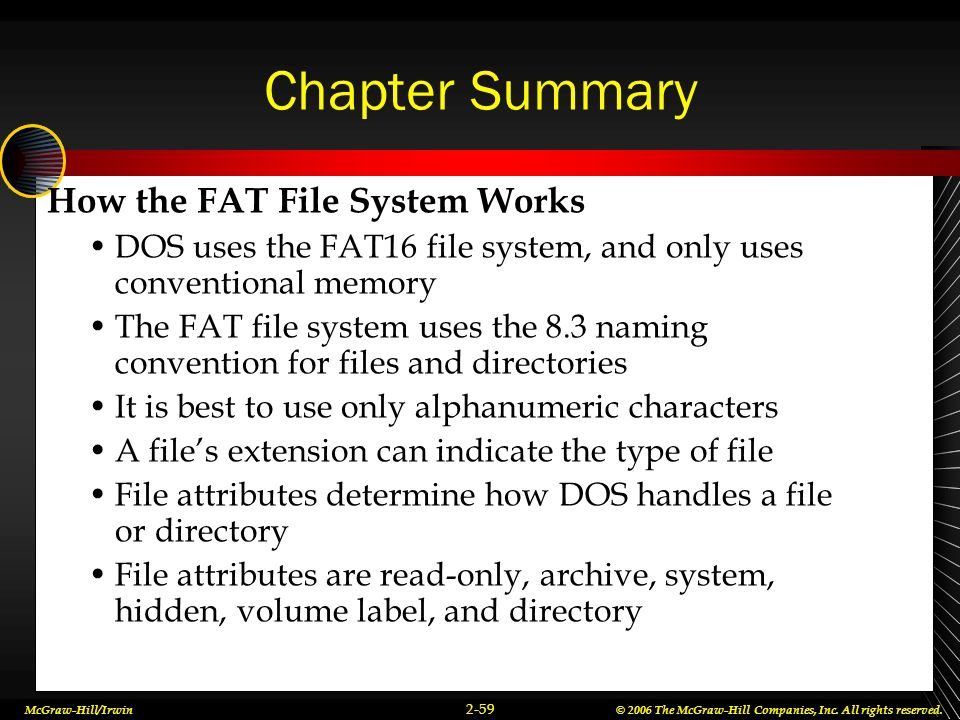 Chapter Summary How the FAT File System Works