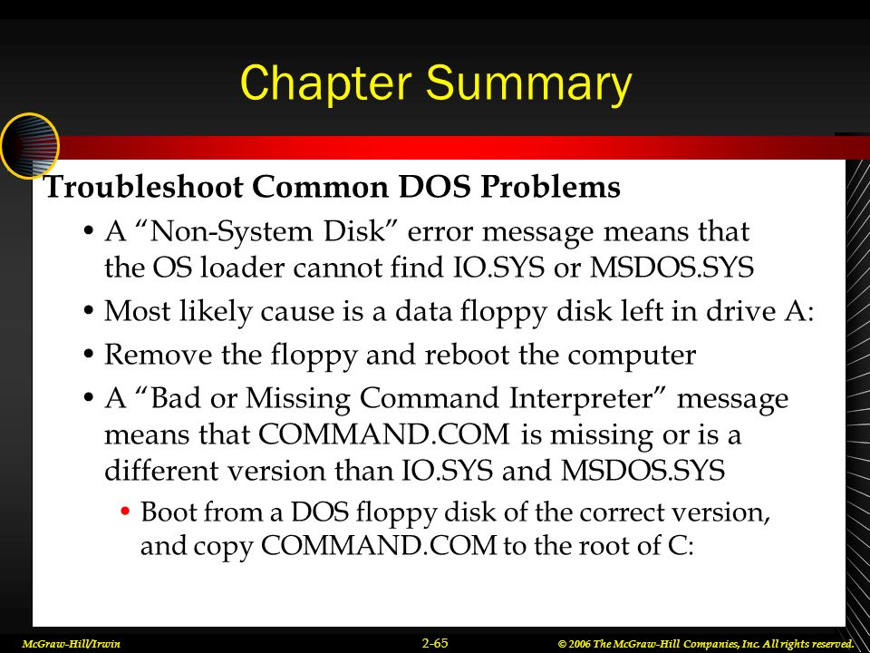 Chapter Summary Troubleshoot Common DOS Problems