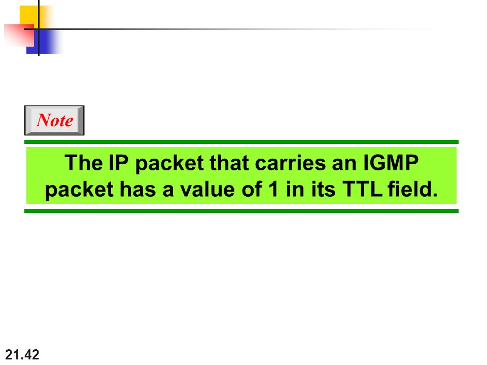 Note The IP packet that carries an IGMP packet has a value of 1 in its TTL field.