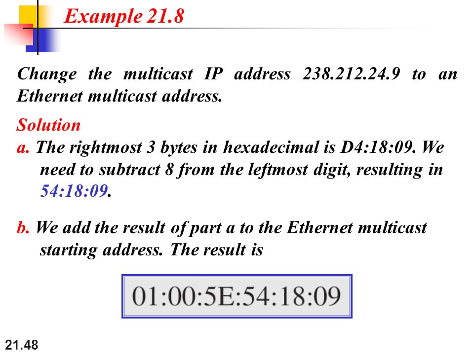 Example 21.8 Change the multicast IP address 238.212.24.9 to an Ethernet multicast address. Solution.