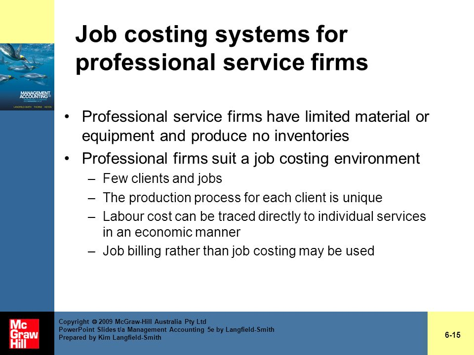Job costing systems for professional service firms