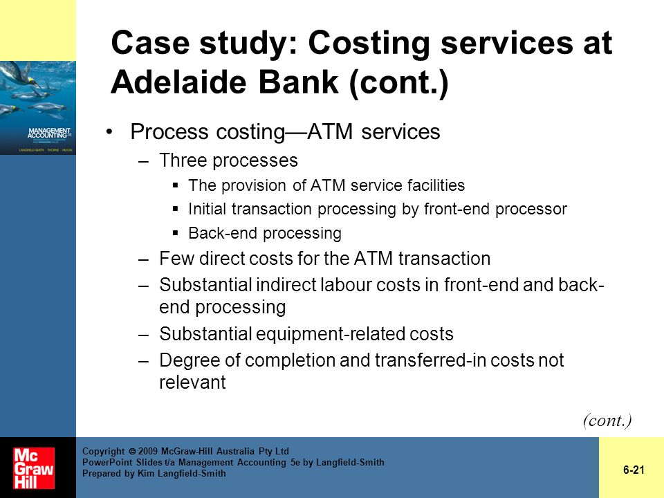Case study: Costing services at Adelaide Bank (cont.)