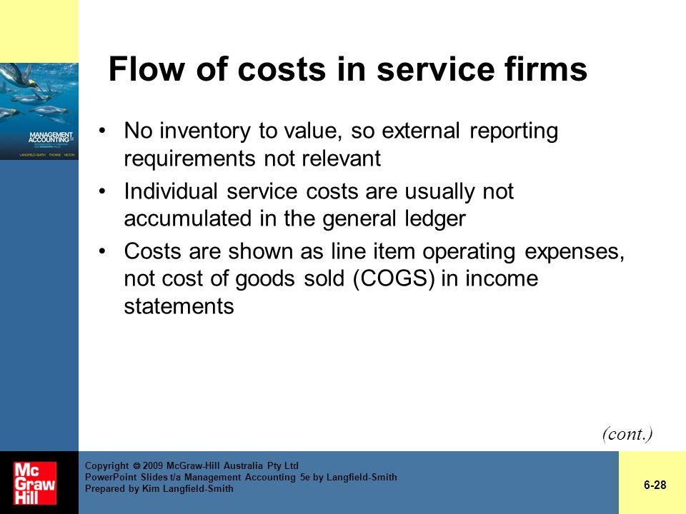 Flow of costs in service firms