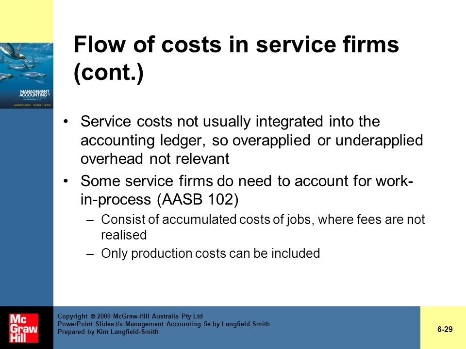 Flow of costs in service firms (cont.)