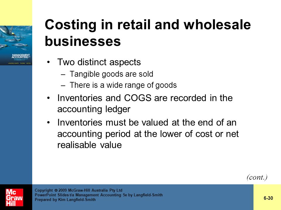 Costing in retail and wholesale businesses