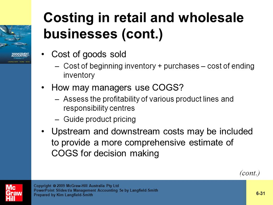 Costing in retail and wholesale businesses (cont.)