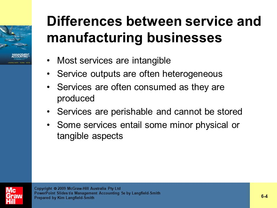 Differences between service and manufacturing businesses
