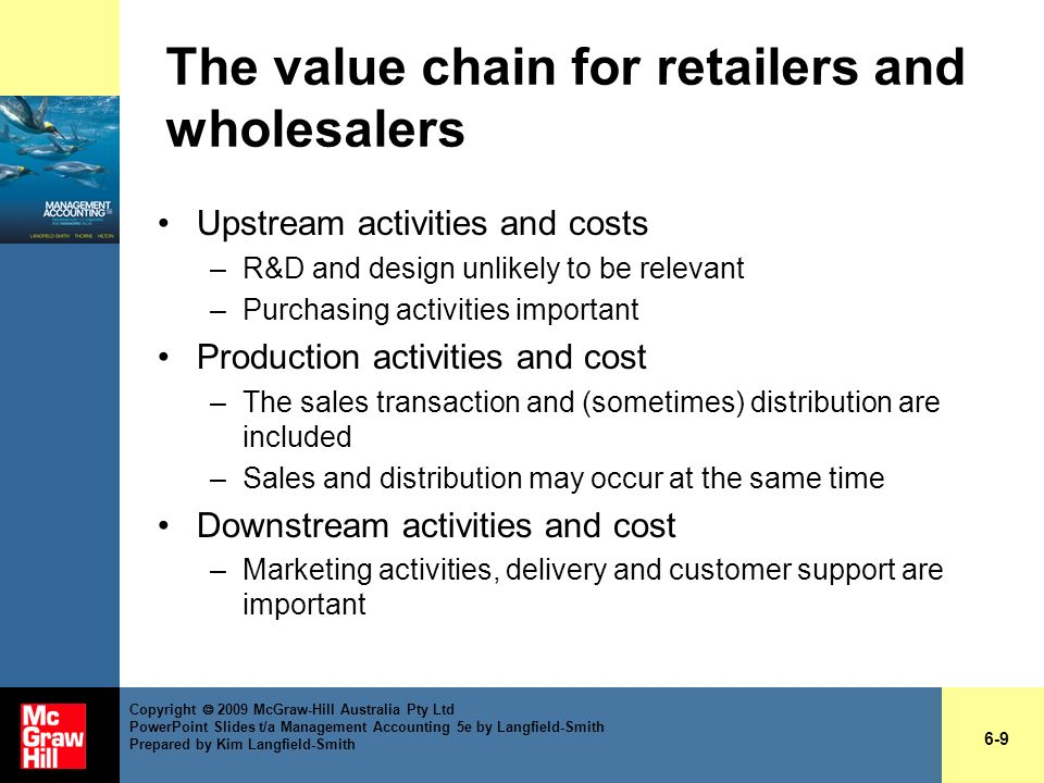 The value chain for retailers and wholesalers