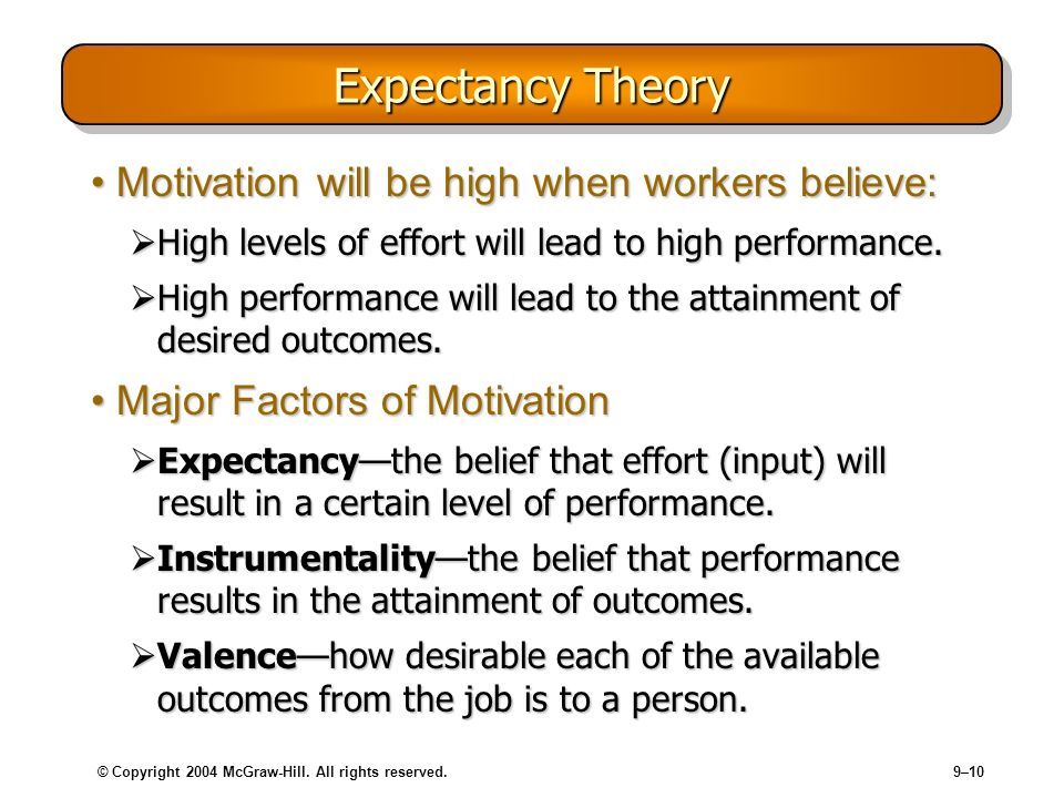 Expectancy Theory Motivation will be high when workers believe: