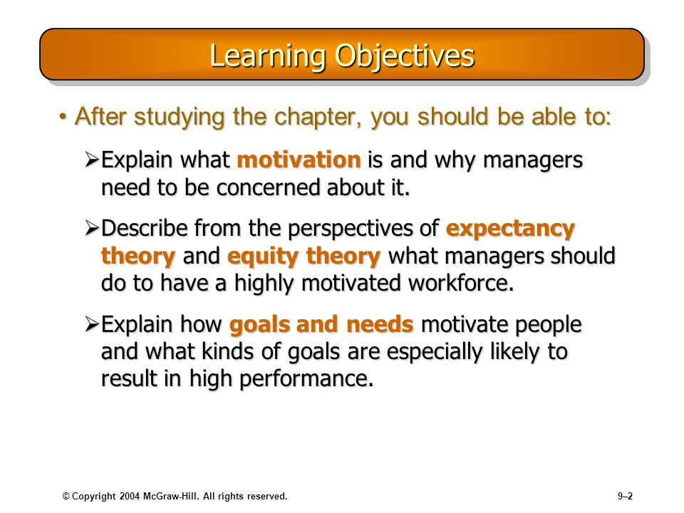 Learning Objectives After studying the chapter, you should be able to: