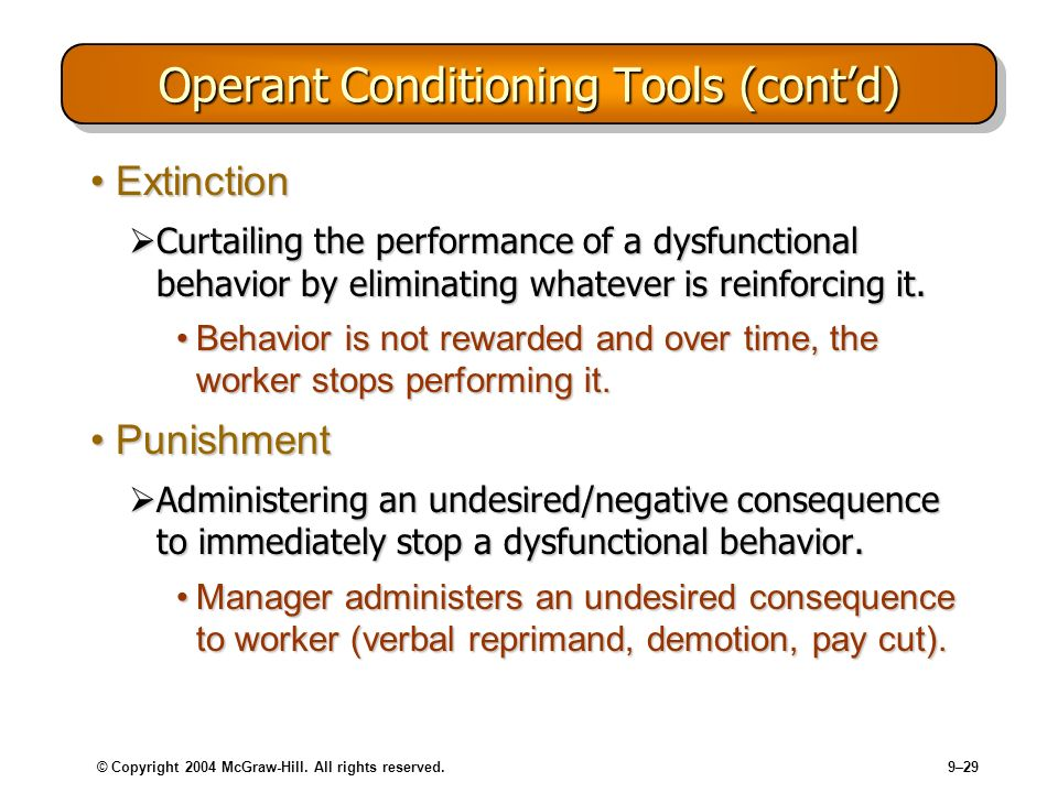 Operant Conditioning Tools (cont'd)