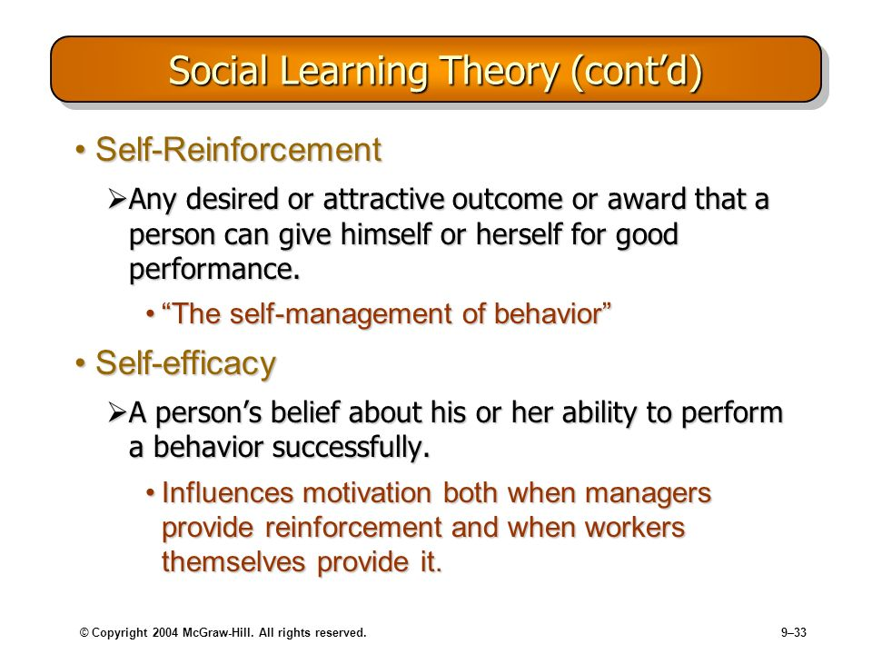 Social Learning Theory (cont'd)