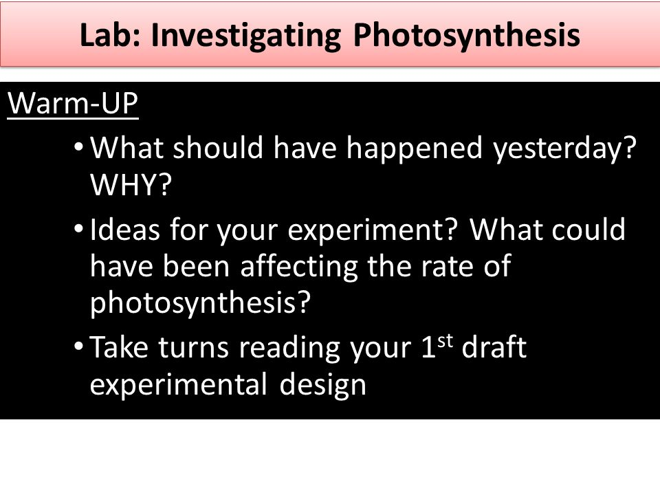 rate of photosynthesis design Investigation into the factors affecting the rate of photosynthesis.