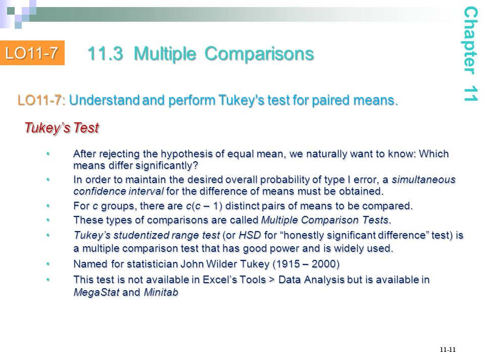 Tukey's Test 11.3 Multiple Comparisons Chapter 11 LO11-7