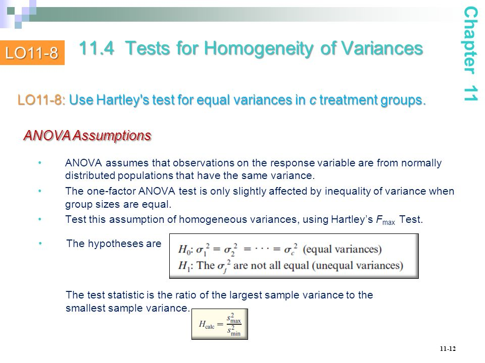 11.4 Tests for Homogeneity of Variances
