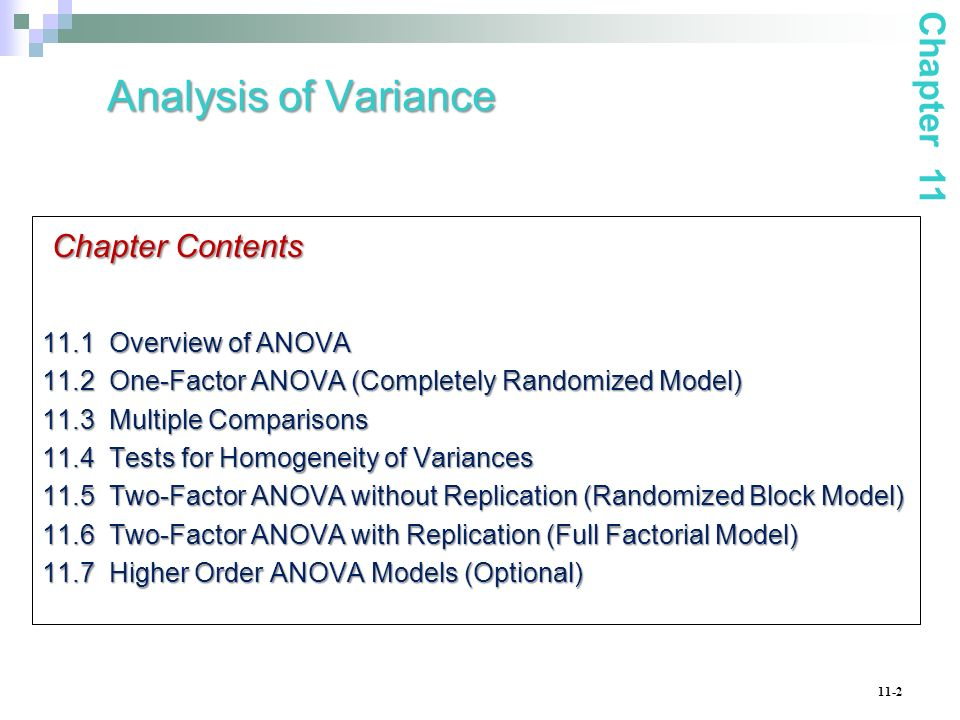 Analysis of Variance Chapter Contents Chapter 11