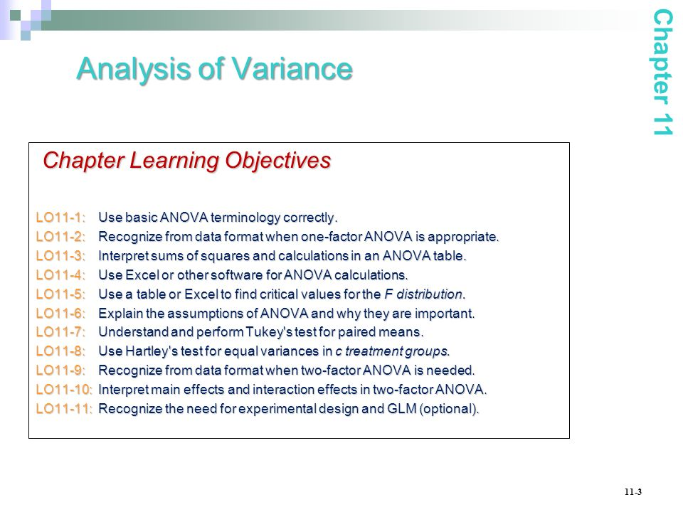 Analysis of Variance Chapter 11 Chapter Learning Objectives