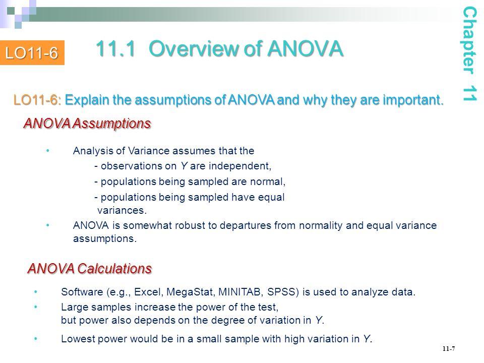 11.1 Overview of ANOVA ANOVA Assumptions ANOVA Calculations Chapter 11