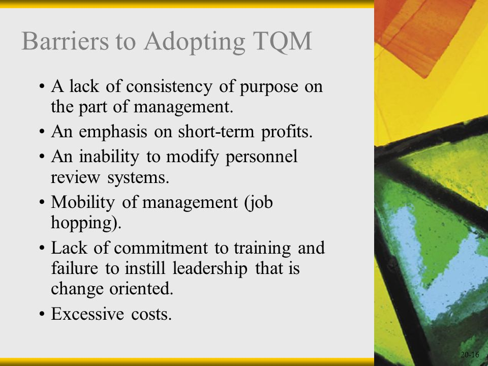 Barriers to Adopting TQM