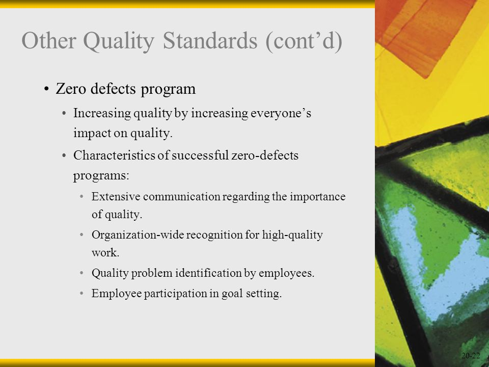 Other Quality Standards (cont'd)